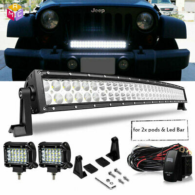 30/32Inch 180W Curved LED Light Bar Combo FLOOD SPOT FOR OFFROAD 4WD JEEP TRUCK