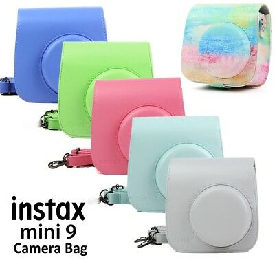 PU Leather Camera Bag Carry Case Cover for Fujifilm Fuji  Instax Mini 8 9