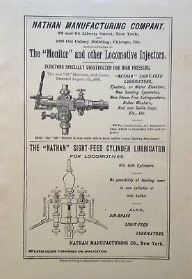 1899 Ad (1800-22)~Nathan Mfg. Co. Nyc. Locomotive Injectors And Lubricator