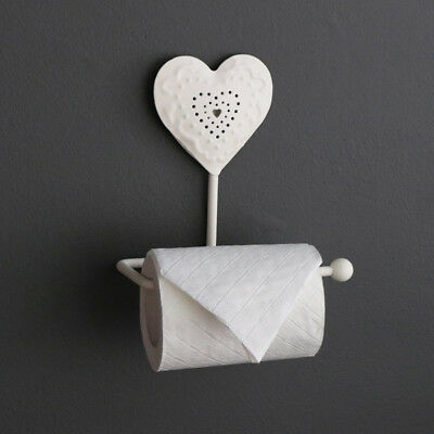Cream heart toilet roll holder shabby vintage chic French country bathroom