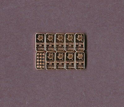 Maple Leaf With Map .999 Copper Rounds One Gram  Each 1X10