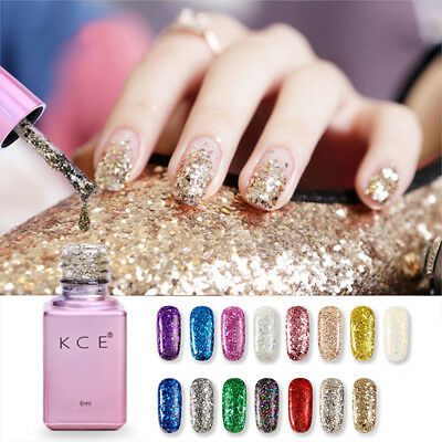New KCE Sequins Glitter Nail Gel Polish Soak Off UV LED Top Base Coat Manicure