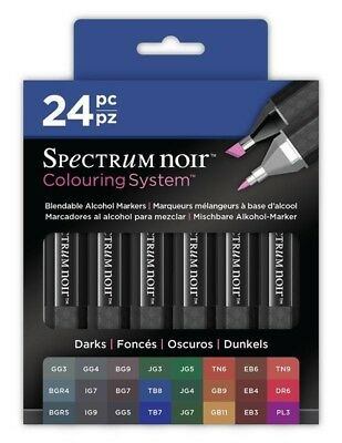 Crafters Companion Spectrum Noir Blendable Alcohol Based 24 Ink Pens Darks