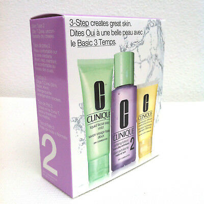 CLINIQUE 3 Step Skin Care Starter Set for Type 2  Facial Soap, Lotion, DDML
