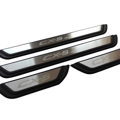 4Pcs Stainless Steel Side Door Step Sill Scuff Protector Plate For Mazda CX-5 17