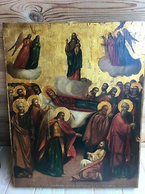 "Antique 19c Russian Orth Hand Painted Wood Icon ""the Assumption of the Virgin"""