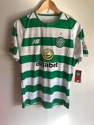 Celtic FC NB Men's 2017/18 Home Shirt - Small - Green/White - Paolo 28 - New