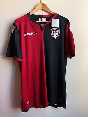 Cagliari FC Macron Men's 2017/18 Home Shirt - 2XL - Navy/Red - No Name - New