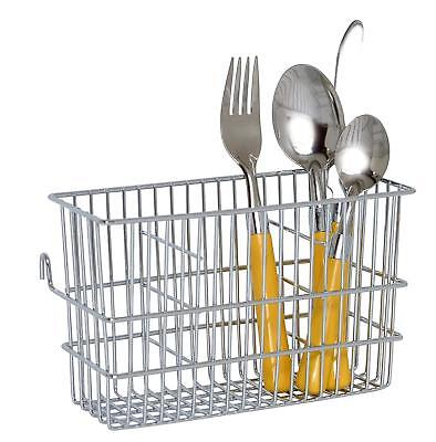 3 Compartment Chrome Rectangle Cutlery Caddy Drainer Holder Stand Organiser Rack