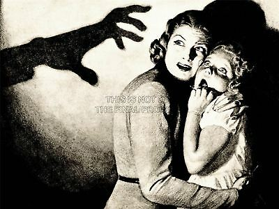 Illustration Scary Mother Child Frightened Horror Art Canvas Print