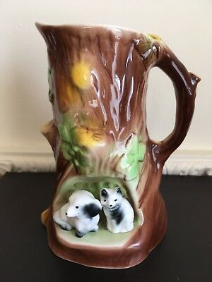 Eastgate Pottery Fauna Tree Trunk Jug - Cat And Dog - 16cm