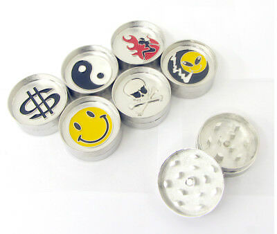 Magnetic Metal Herb Grinder 40mm 2 Part With Yin Yang Face Novelty Print