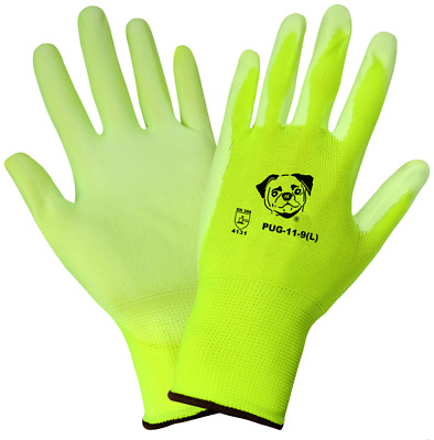 Global Glove Hi-Viz Polyurethane Coated Nylon Work Gloves, 12 Pair