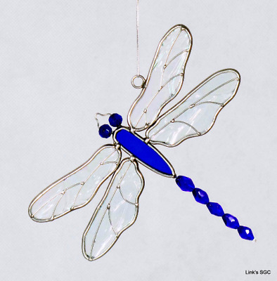 Stained Glass Blue Dragonfly Sun Catcher