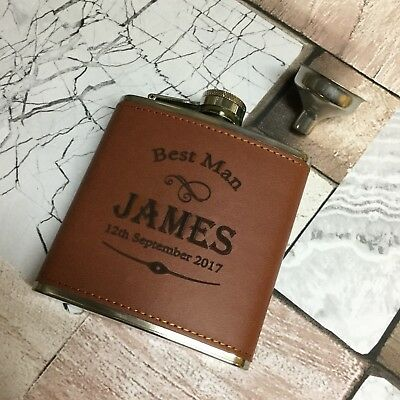 6oz Full Leather personalised Hip Flask.usher/best Man etc with box choice lf48