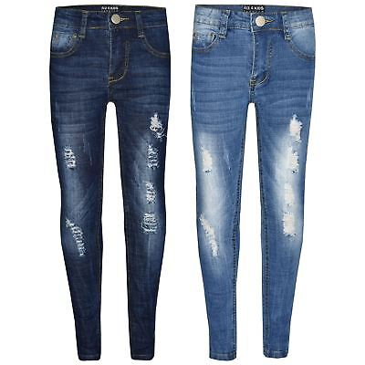 a89a15560181 Kids Boys Skinny Jeans Denim Ripped Stretchy Pants Trousers New Age 3-13  Years