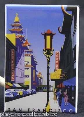 San Francisco Chinatown 1960s Vintage Style Travel Poster 24x32