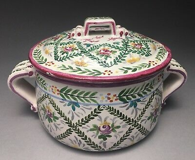 Fine Faience French Sevres Marked Pottery Lidded Baking Casserole Dish