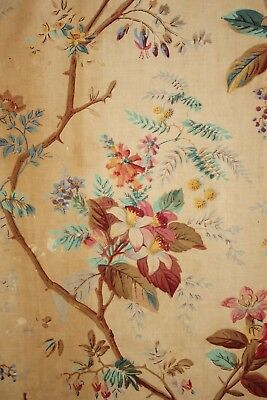 1830's antique French printed linen curtain block printed design textile chintz