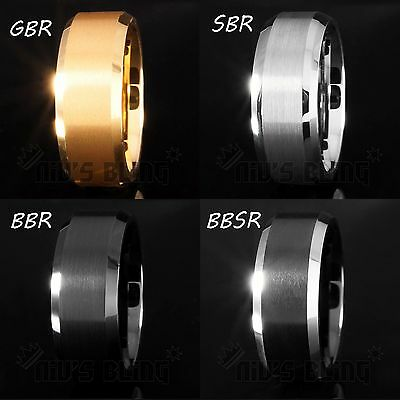 8MM Gold Silver Black Brushed Tungsten Carbide Ring Wedding Band Mens NB Jewelry