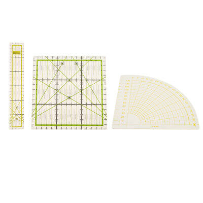 3 x Rectangle Square Sector Quilt Ruler Patchwork Ruler for DIY Sewing Craft