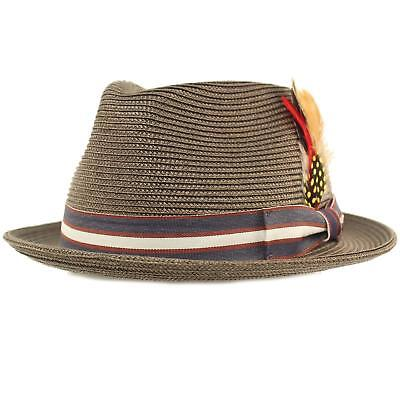Men s Stripe Band Removable Feather Derby Fedora Curled Brim Hat 1 ... 5881d5b61e90