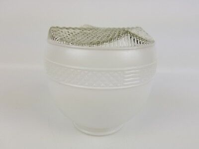 Vintage Diamond Pattern Frost White and Clear Glass Ceiling Lamp Shade