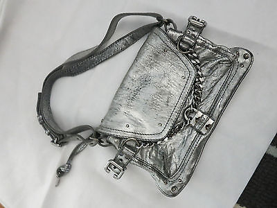 fa46a738cd CHLOE silver leather small bag w chain and lock detail