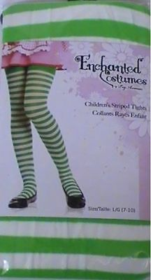 Green/White Girls Striped Tights Size 4-6 Costume Strawberry Shortcake Witch