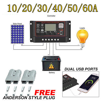 60A Solar Panel Controller Battery Charge Regulator 12V/24V Auto With Dual USB g