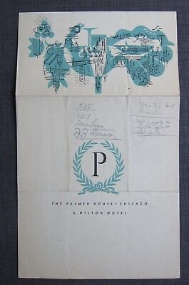 1947 Original Vintage Menu, Palmer House A Hilton Hotel The Chicago Room,Chicago