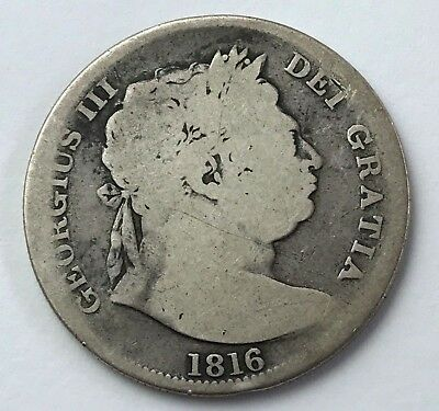 Dated : 1816 - Silver Coin - Half Crown - King George III - Great Britain