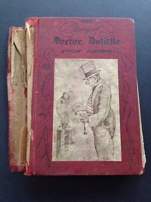 Antique Childrens Book 1920 Red Cloth Cover The Story of Doctor Dolittle