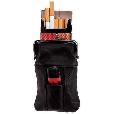 Cigarette Case Tobacco Holder Lighter Pocket Clip Close Top Black Leather NEW
