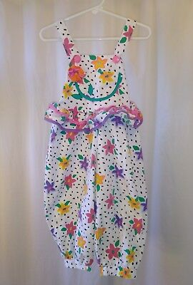 Vintage Youth Girls Floral Ruffled Loose Fitting Over all Summer Outfit Size 2T