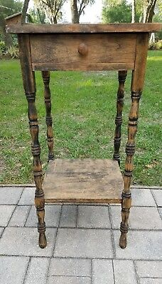 Antique primitive nightstand candle stand end table early American rustic
