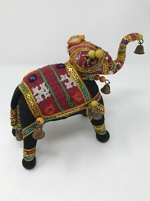 Stuffed Elephant Figurine Handmade India? Multi Color Embellishments Mirror Bell