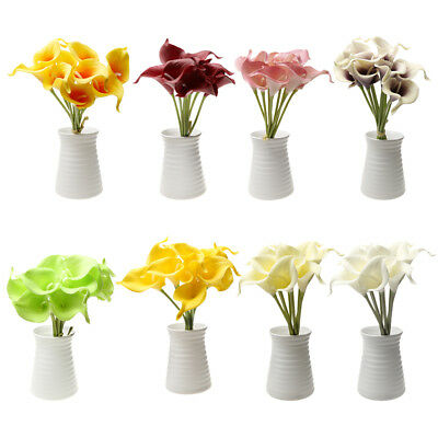 9 Heads Artificial Calla Lily Flowers Single Long Stem Bouquet Real Home Decor