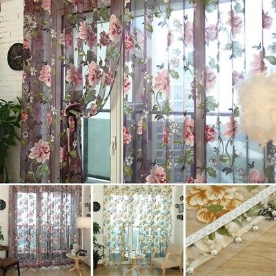 Modern Sheer Floral Tulle Voile Door Room Window Drape Panel Curtain Valances