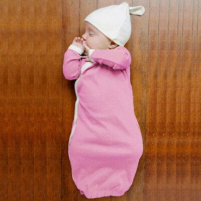 Baby Wearable Safe Sleep Cotton Long Sleeve Sleeping Bag Nightgown Set with Hat