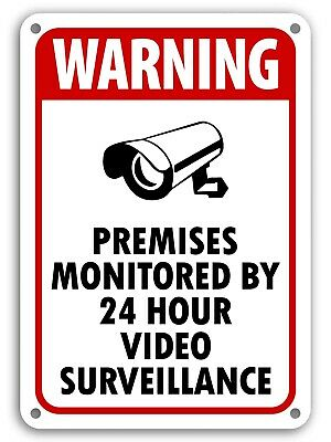 """10""""x14"""" Warning 24 Hour Video Surveillance Sign Home Security cctv Camera Signs"""