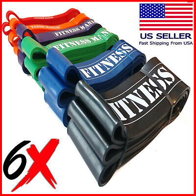 6 Resistance bands Set Trainers Pull Up Assist Mobility & Powerlifting Gym Bands