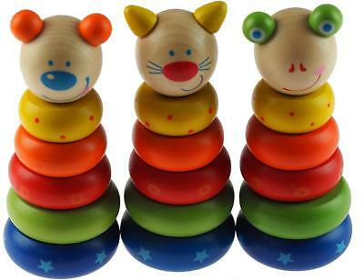 Set Of 3 Wooden 13cm High Chunky Animal Stacking Rings Baby Toys