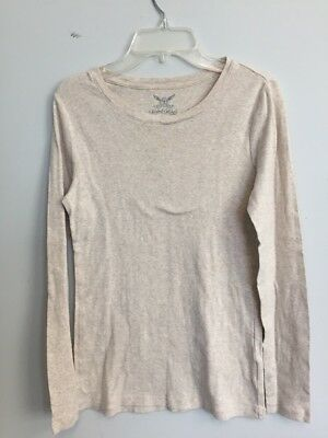 Faded Glory Girls' Long Sleeve Crew Neck T Shirt Tee Size S 4-6 Beige