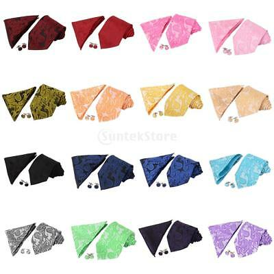 Multi-Color Paisley Neck tie and & Pocket Square Hankie Set Formal Party Wedding