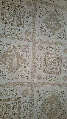 Antique Linen Tablecloth Fine Italian Handwork Filet Lace Figural White On White