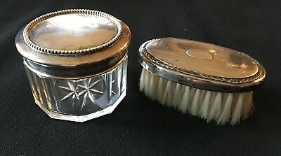 Sterling Brush + Perfume Set 2.5 ounces Vintage 1930s 1940s Cut Glass Classic
