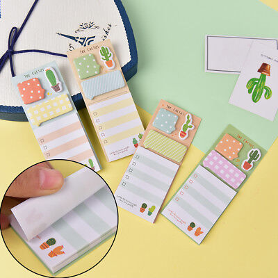 Cactus Kawaii Memo Pad Sticky Notes Office Supplies Bookmark Paper Sticker LJ