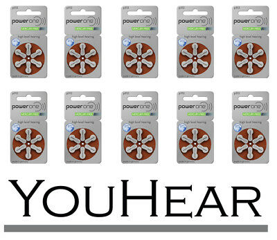Power One Hearing Aid Batteries P 312 (10 Packets 60 Batteries Total) Size 312