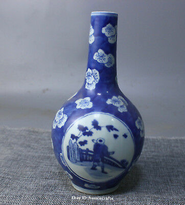 19.5cm Collect China Old Blue and white Porcelain Handmade Pine vase HLCY